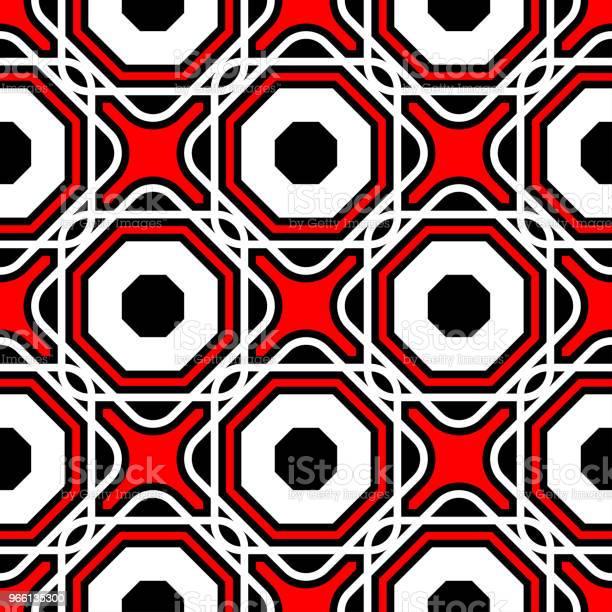 Sömlös Geometriska Mönster Svart Röd Och Vit Bakgrund-vektorgrafik och fler bilder på Abstrakt