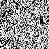 seamless geometric pattern, ornament in patchwork style, grunge texture, ethnic and tribal motifs, black and white print, vector illustration