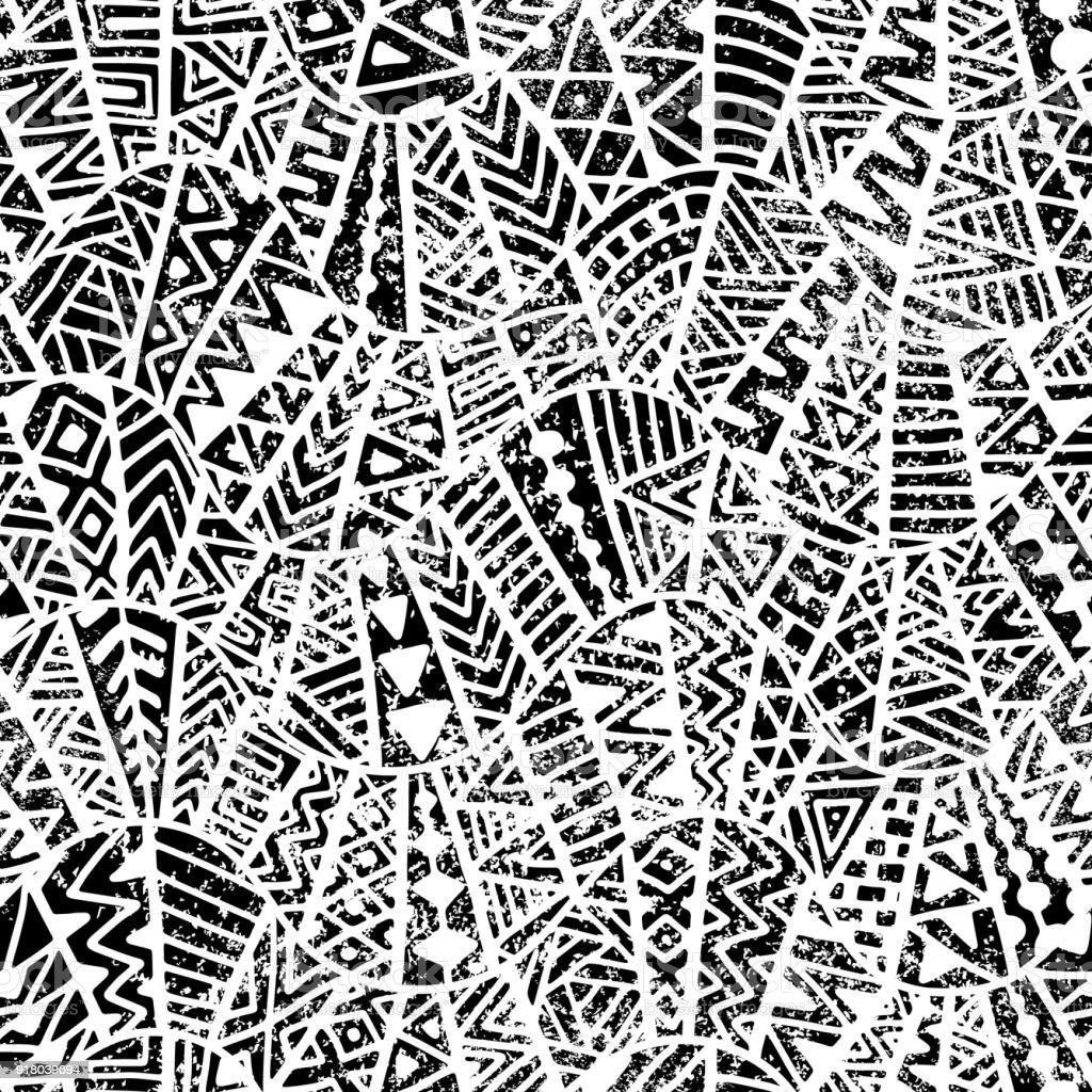 Sin fisuras patrón geométrico. Textura Grunge. - ilustración de arte vectorial