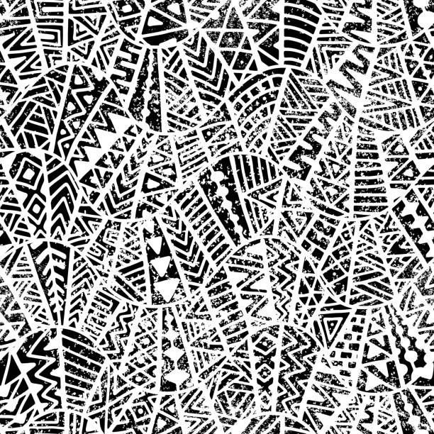 Seamless geometric pattern. Grunge texture. seamless geometric pattern, ornament in patchwork style, grunge texture, ethnic and tribal motifs, black and white print, vector illustration indigenous culture stock illustrations