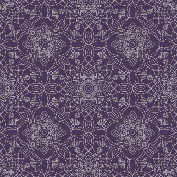 nahtlose geometrische muster in lila und silbergrau. - pashminas stock-grafiken, -clipart, -cartoons und -symbole
