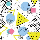 Vector colorful seamless pattern. Universal repeating geometric abstract figure, pseudo art. Wallpaper, wrapping paper, interior, pointillism,, 80s, 90s style