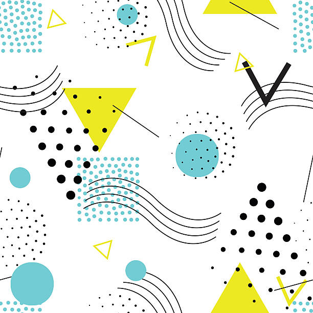 Seamless geometric pattern in retro, 80s style Vector colorful seamless pattern. Universal repeating geometric abstract figure, pseudo art. Wallpaper, wrapping paper, interior, pointillism,, 80s, 90s style kitsch stock illustrations