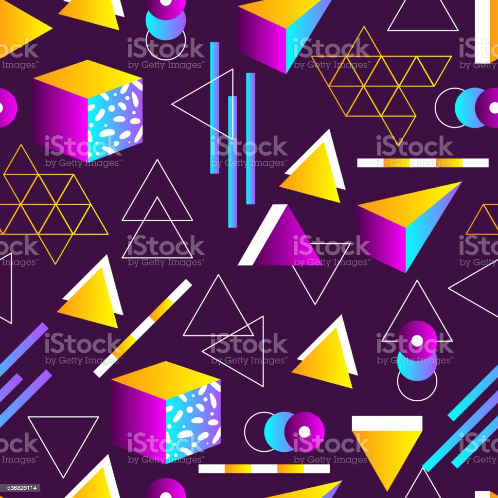 Seamless geometric pattern in retro 80s style vector art illustration