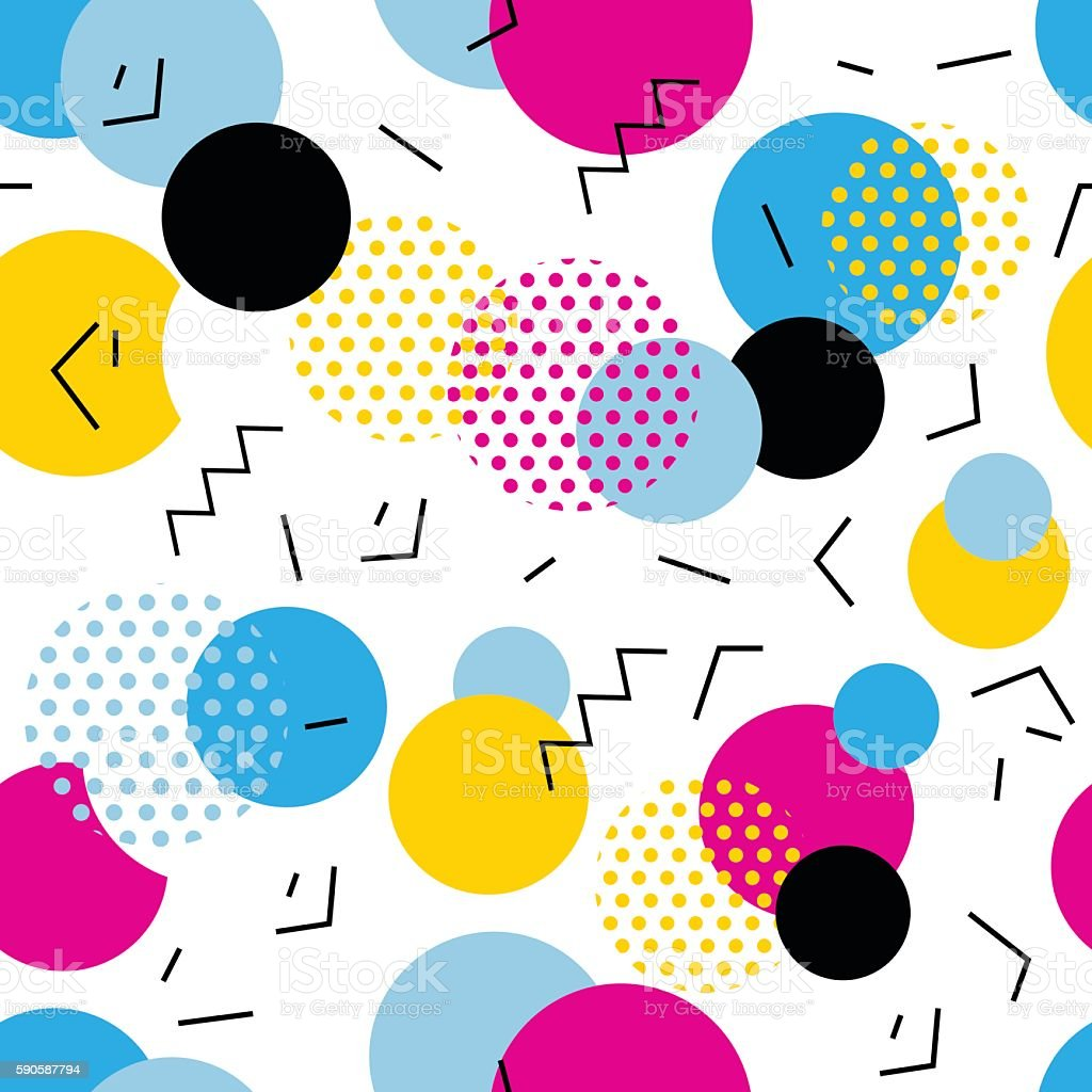 Lines And Shapes : Seamless geometric pattern pop art circles lines zigzag