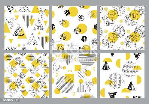 Set of editable vector seamless patterns on layers.