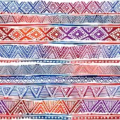 seamless geometric pattern, grungy texture, watercolor stripes, tribal and ethnic motifs, handmade, print for textiles, blue, red, orange and white colors, vector illustration