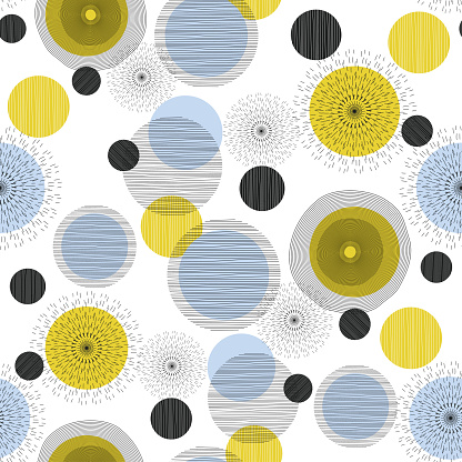 Seamless geometric pattern with circles and semicircles. Scandinavian style. Abstract modern background. Vector wallpaper for fashion decor artdeco design ready for print.