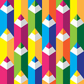 Seamless geometric pattern with colorful pencils in flat style. Vector.