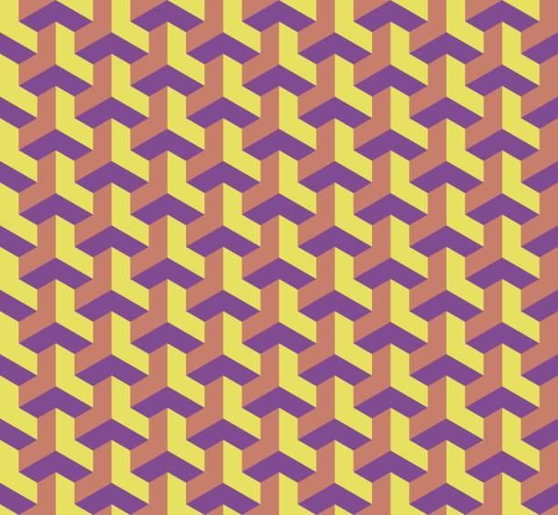 nahtlose geometrische muster mit würfeln, 3d-effekt architektonische abbildung - bauhaus stock-grafiken, -clipart, -cartoons und -symbole
