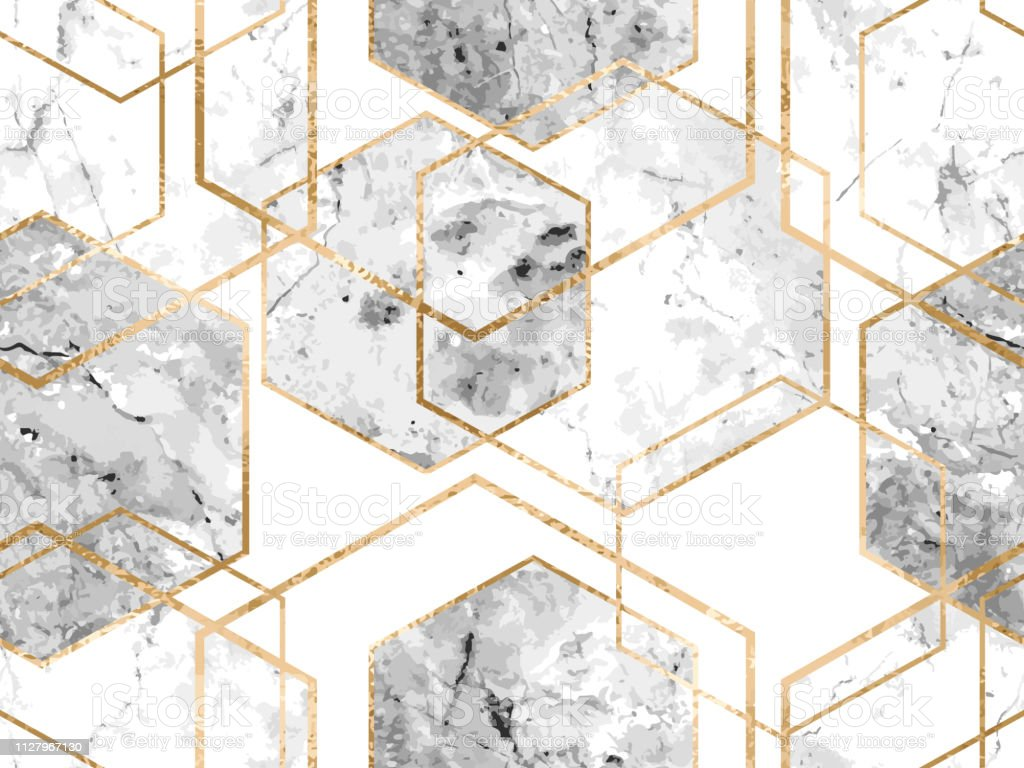 Seamless Geometric Pattern With Gold Glitter Lines And Marble Polygons Stock Illustration Download Image Now Istock