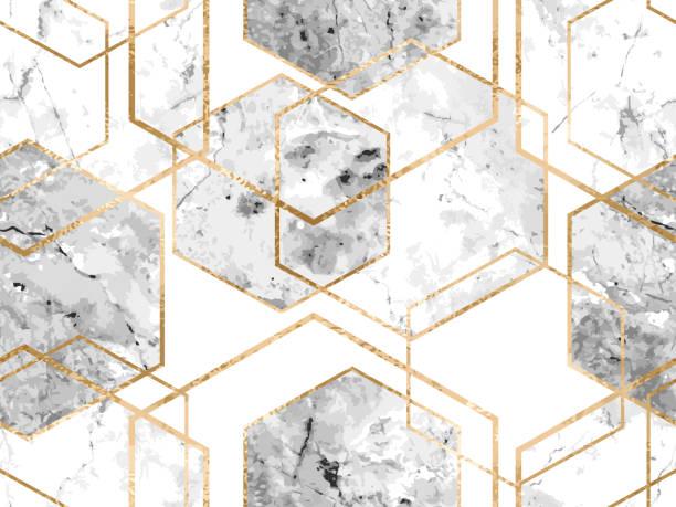 bildbanksillustrationer, clip art samt tecknat material och ikoner med sömlös geometriska mönster med guldglitter linjer och marmor polygoner - marble