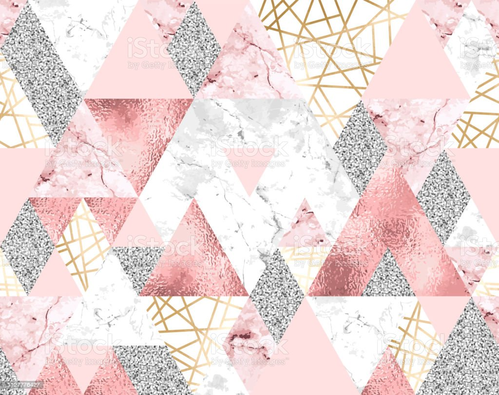 Seamless Geometric Pattern With Gold Metallic Lines Silver Glitter