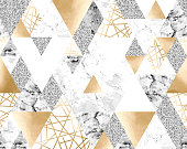 Vector seamless geometric pattern with gold metallic lines, silver glitter, gray and marble triangles. Modern polygons abstract texture on white background