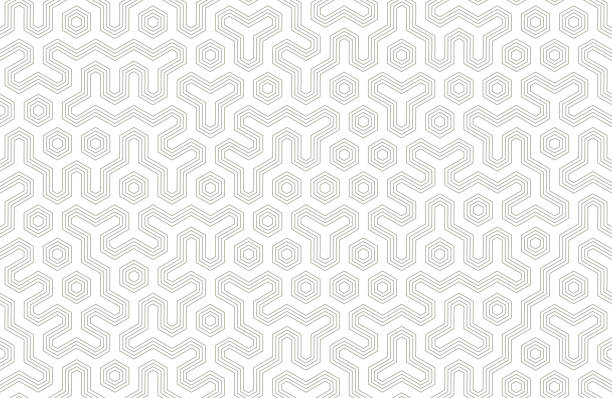 seamless geometric pattern with hexagons and lines. irregular structure for fabric print. monochrome abstract background - monochrom stock illustrations