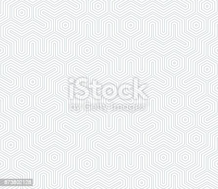 istock Seamless geometric pattern with hexagons and lines. Irregular structure for fabric print. Monochrome abstract background 873802128
