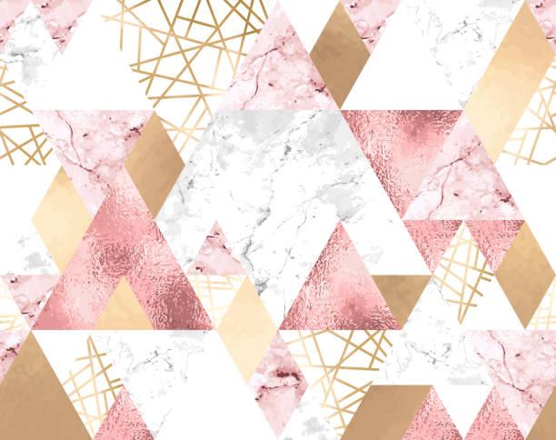 stockillustraties, clipart, cartoons en iconen met naadloze geometrische patroon met metallic lijnen, rose goud, grijs en roze marmeren driehoeken - marmeren
