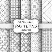 Seamless geometric patterns set. Grey and white texture for your design
