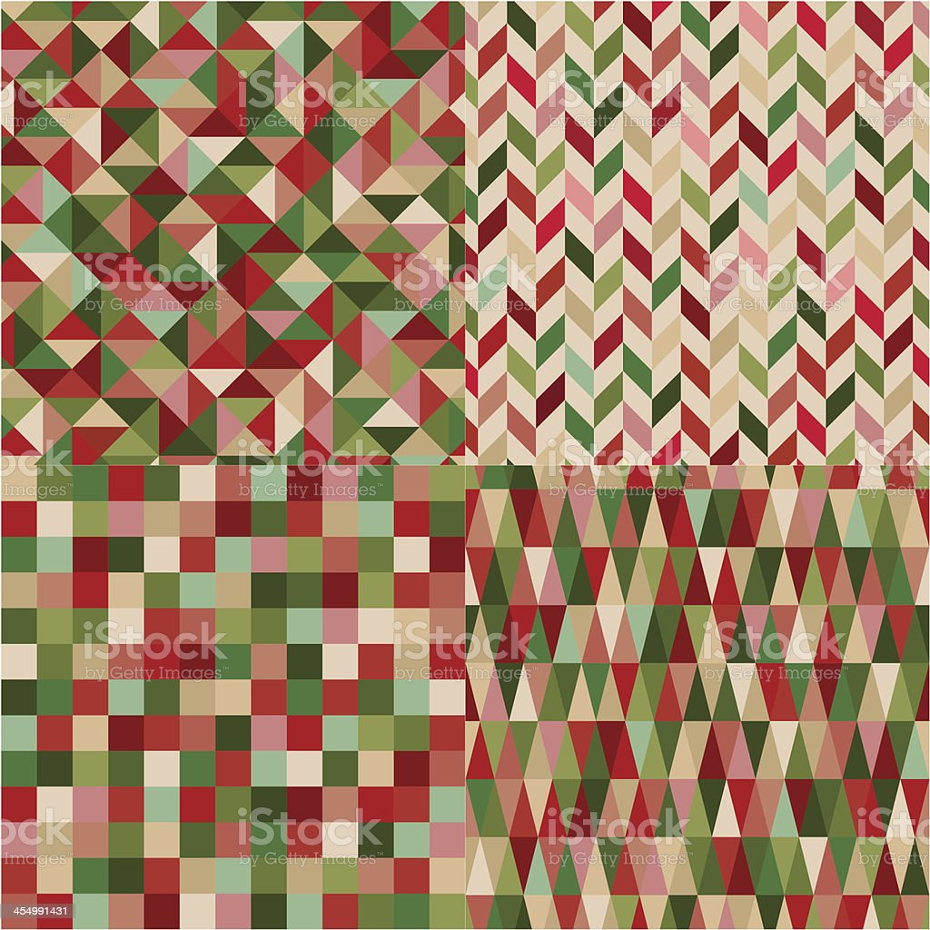 seamless geometric red green pattern royalty-free stock vector art