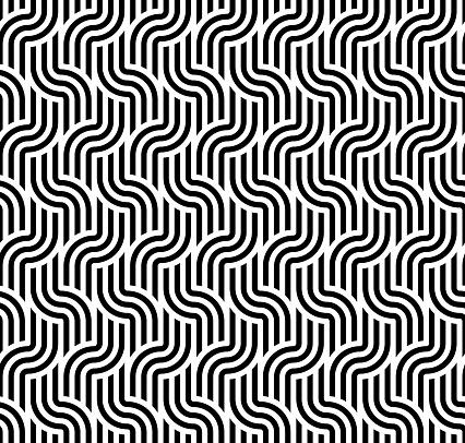 Seamless geometric striped pattern. Monochrome striped loopy ribbon, with maze elements. Geometric graphic texture