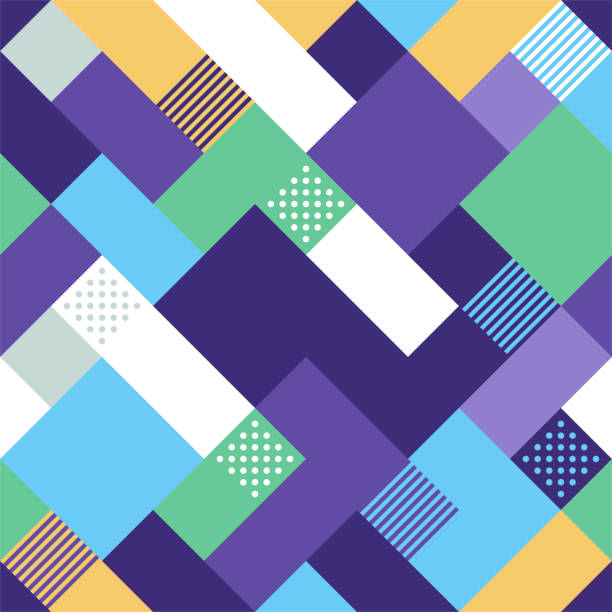Seamless Geometric Style Vector Pattern Design Seamless and minimal style geometric vector pattern illustration. Abstract background design with vibrant colors. square composition stock illustrations