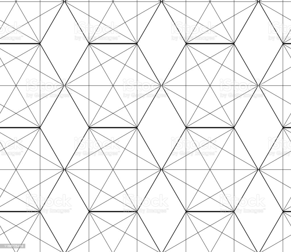 Seamless Geometric Thin Lines Pattern Black And White Grid Background Vector Seamless Monochrome Pattern Geometric Background With Cross Lines Abstract Geometric Pattern Stock Illustration Download Image Now Istock