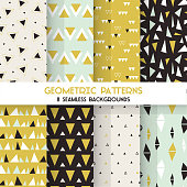8 Seamless Geometric Triangles Patterns - Texture for wallpaper, textile