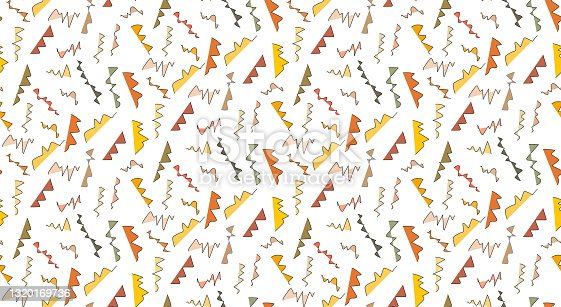 istock Seamless geometric vintage pattern in retro style. Memphis style. Vintage backdrop for textile, clothes, fabric, surface. 1320169736