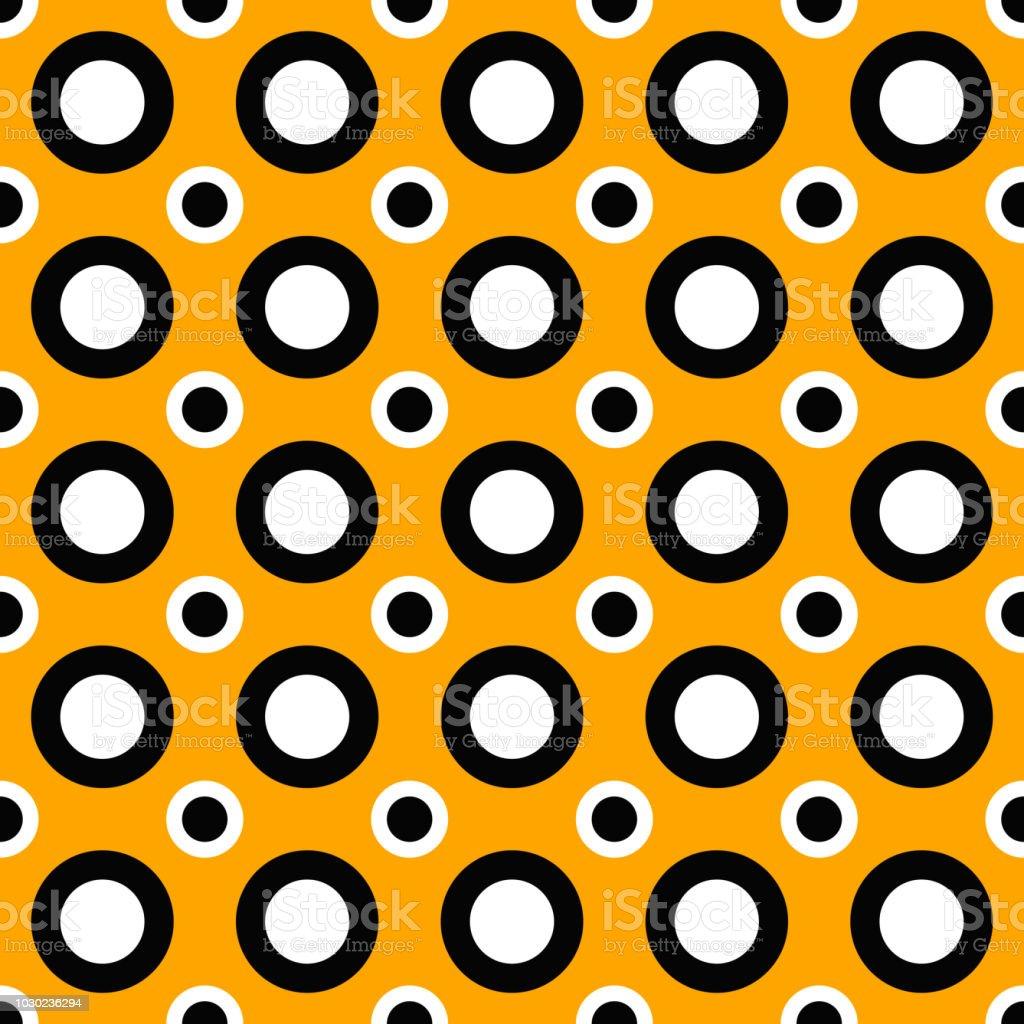 Seamless geometrical circle pattern background in orange, black and white vector art illustration