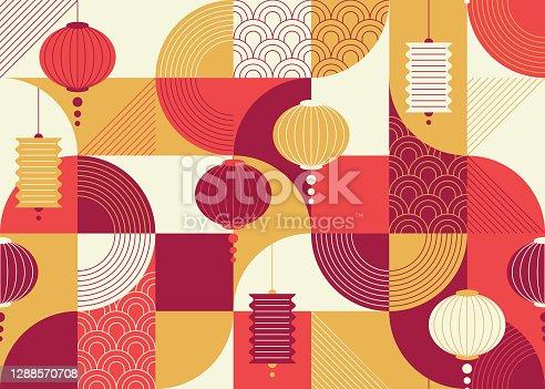 istock Seamless geometrical flat and ornamental design pattern with chinese lanterns, China New year background. 1288570708