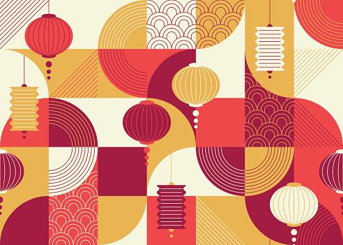 Seamless geometrical flat and ornamental design pattern with chinese lanterns, China New year background.