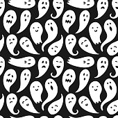 Seamless ghost illustrations pattern with black background