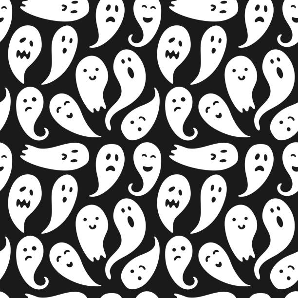 Seamless ghost illustrations pattern with black background vector art illustration