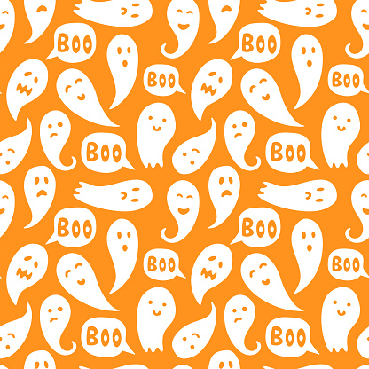 """Seamless ghost illustrations pattern with halloween """"boo"""" texts and orange background"""