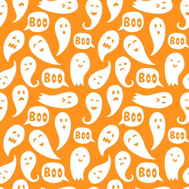 "Seamless ghost illustrations pattern with halloween ""boo"" texts and orange background vector art illustration"