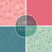 A set of hand drawn presents seamless patterns. EPS10 vector illustration, global colors, easy to modify.