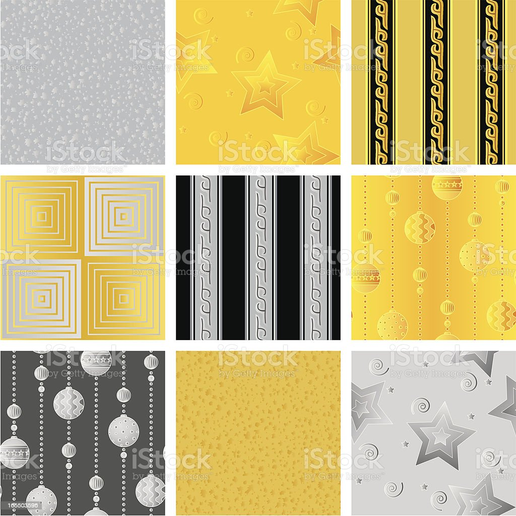 Seamless gift wrapping pattern --gold_silver royalty-free stock vector art