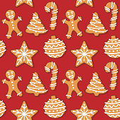 Seamless gingerbread christmas cookie illustration pattern, red background