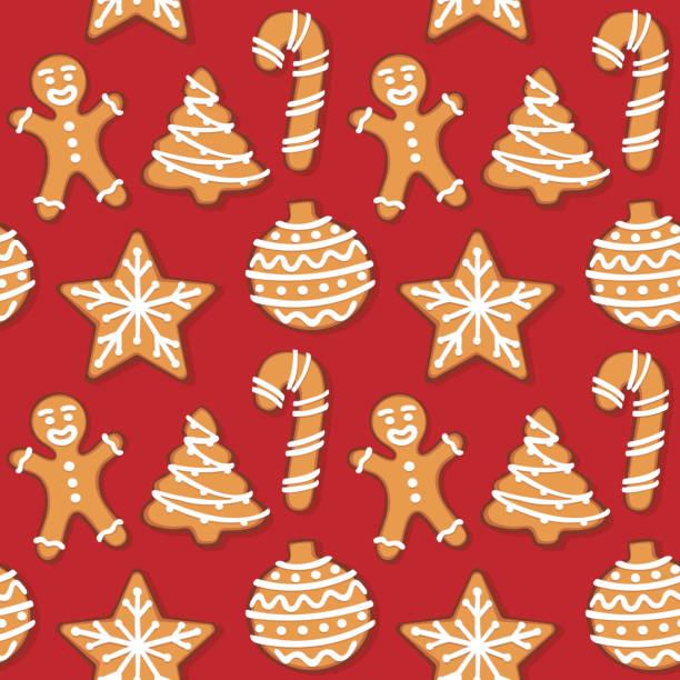 Seamless gingerbread christmas cookie illustration pattern, red background vector art illustration