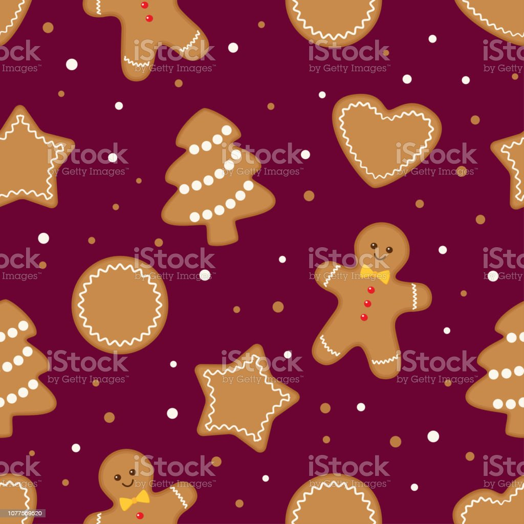 Seamless Gingerbread Christmas Cookies Background Stock Vector Art