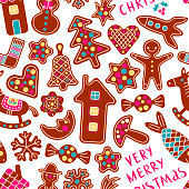 Seamless Pattern Gingerbread Cookies with Marry Christmas text.