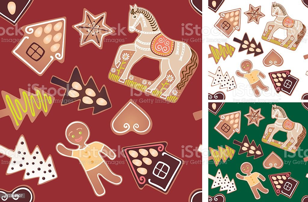 Seamless gingerbread pattern royalty-free stock vector art
