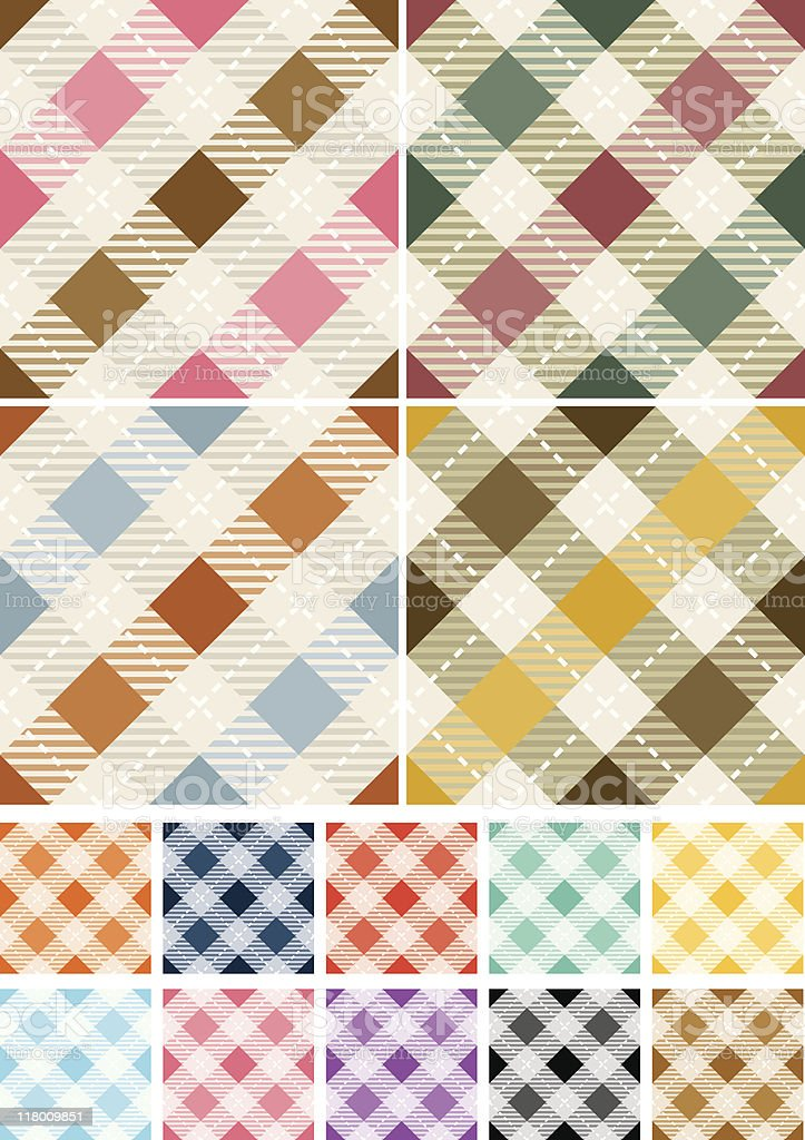 Seamless Gingham Patterns royalty-free stock vector art