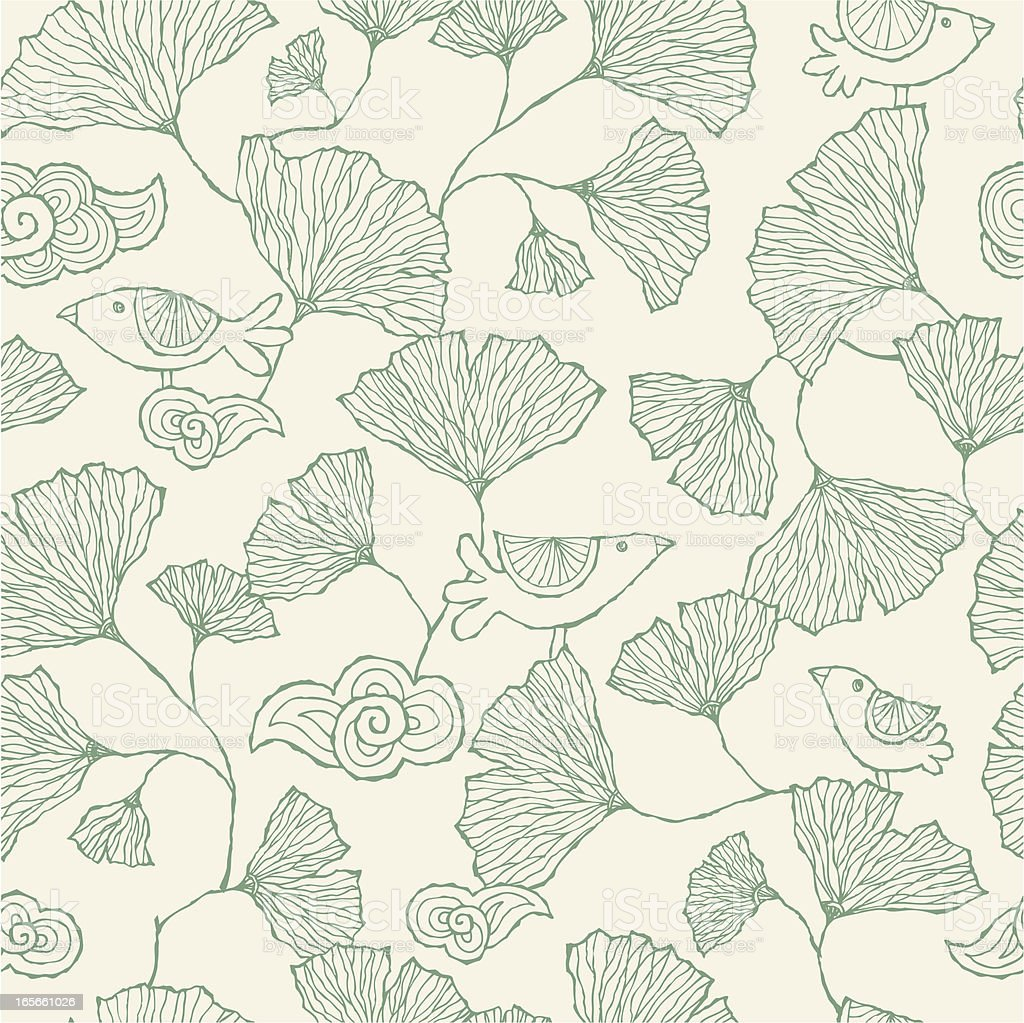 Seamless Ginko Leaf pattern royalty-free stock vector art