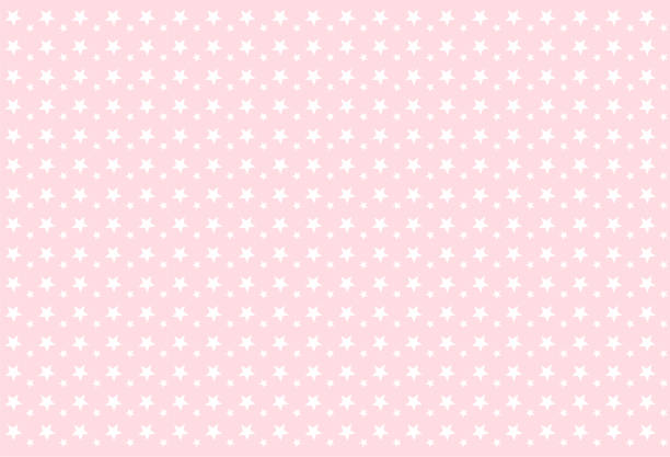 Seamless girlish pattern. White stars on pink background. Backdrop for invitation card, wrapper and decoration party (wedding, baby girl shower, birthday) Cute wallpaper for princess's style nursery. bedroom patterns stock illustrations
