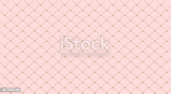 istock Seamless girlish pattern.Gold crown on pink background. 907858186