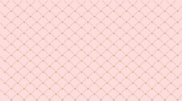 완벽 한 소녀 패턴입니다. 핑크 바탕에 골드 크라운입니다. - 왕족 stock illustrations