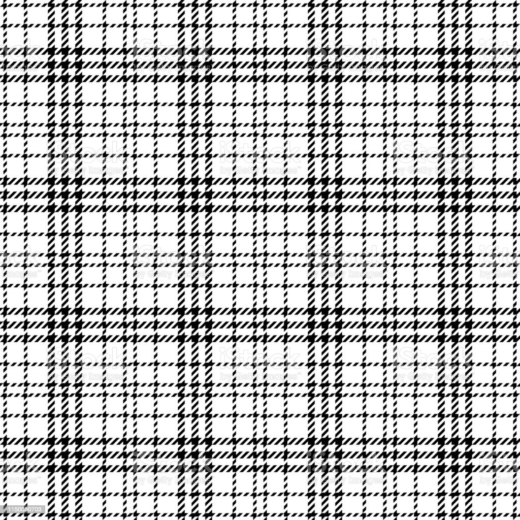 Seamless glen check plaid pattern in black and white. Hounds tooth...