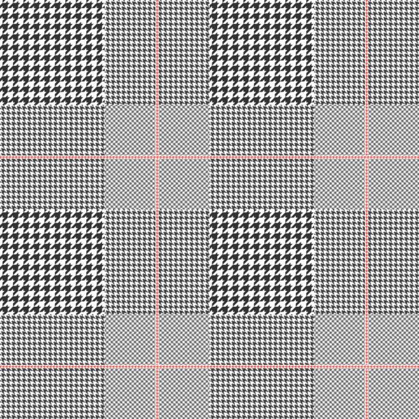 ilustraciones, imágenes clip art, dibujos animados e iconos de stock de patrón de tela escocesa glen inconsútil. paleta de colores: blanco y negro con rojo overcheck. textura de clásico príncipe de gales para la impresión digital textil. - fondos de franela