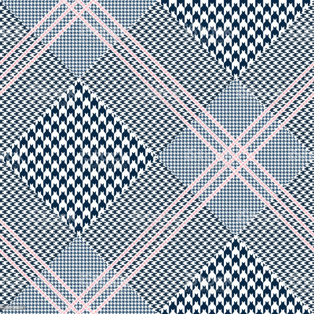 Seamless glen plaid pattern. Color palette: dark navy blue and white with pink overcheck. Classic Prince of Wales texture. vector art illustration